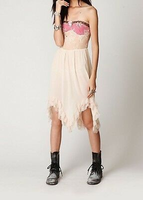 AU161.46 • Buy NWOT FREE PEOPLE Special Occasion Tube Lace Semi Sheer Dress ☮ SMALL