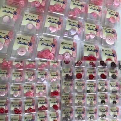 Pink Buttons  Haberdashery Sewing Hemline Flower, Fisheye, Heart Etc Etc • 2.40£