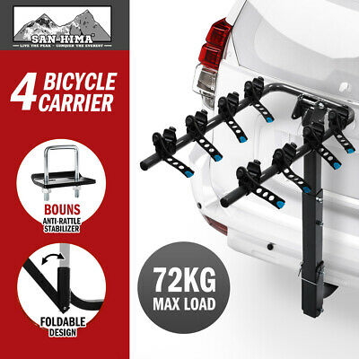 AU89.95 • Buy SAN HIMA Bike Carrier 4 Bicycles Car Rear Rack 2  TowBar Hitch Mount Foldable