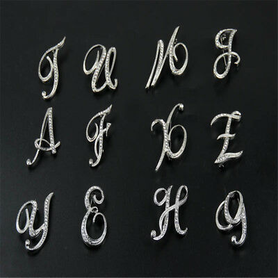 £2.79 • Buy 1PC Best Alphabet Letter A-Z Silver-Tone Initial Letter Fashion Brooch Pin Gifts