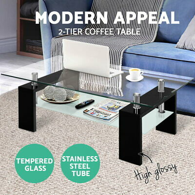 AU85.95 • Buy Artiss Coffee Table 2 Tier Tempered Glass Tables Stainless Steel Storage Shelf