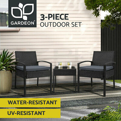 AU169.90 • Buy Gardeon Patio Furniture 3 Piece Wicker Outdoor Lounge Setting Rattan Set Cushion