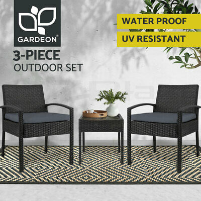 AU202.95 • Buy Gardeon Patio Furniture 3 Piece Wicker Outdoor Lounge Setting Rattan Set Cushion
