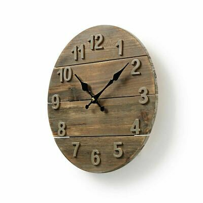 Nedis Wooden Rustic Distressed Wall Clock 30cm Diameter Shabby Chic Kitchen • 12.92£