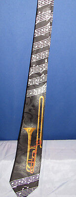 Trombone Music Notes Phineas Creed Hand Made Men's Neck Tie   • 14$