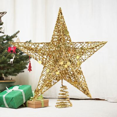 Glitter Gold Christmas Tree Topper Stars Decorations Baubles  • 6.29£
