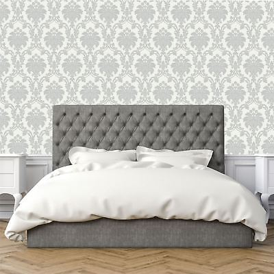 Opera Romeo Damask Feature Wallpaper Arthouse Grey White Heavy Weight Shimmer • 10.35£