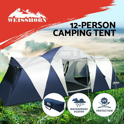 AU209.90 • Buy Weisshorn Family Camping Tent 12 Person Hiking Beach Tents Canvas  (3 Rooms)