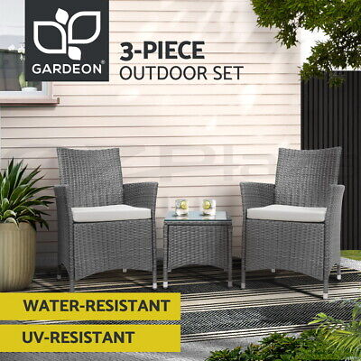 AU199.95 • Buy Gardeon Patio Furniture Outdoor Setting Bistro Set Chair Side Table 3 Piece