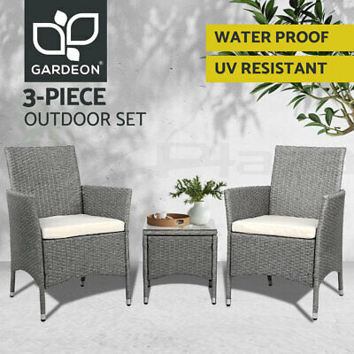 AU219 • Buy Gardeon Patio Furniture Outdoor Setting Bistro Set Chair Side Table 3 Piece
