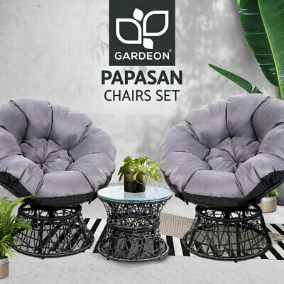 AU429.90 • Buy Gardeon Outdoor Lounge Setting Furniture Papasan Chair Table Wicker Sofa Patio
