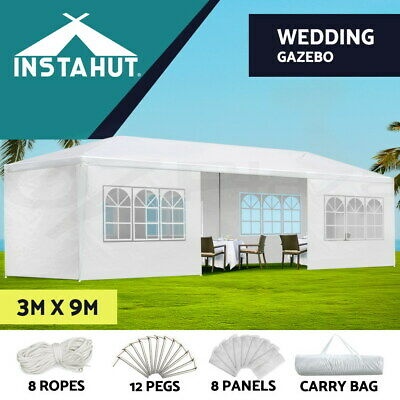 AU169.90 • Buy Instahut Gazebo 3x9 Outdoor Marquee Gazebos Side Wall Tent Canopy Camping White