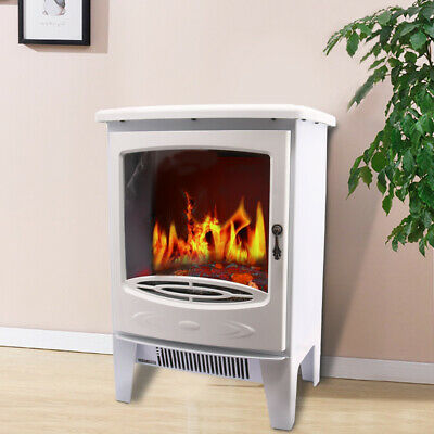 1850W Modern White Free Standing Electric Stove Fireplace Fire Heater • 75.99£