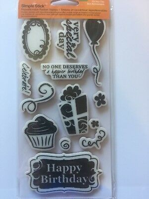 £2 • Buy Fiskars Cling Rubber Stamp Set It's Your Day Birthday Sayings 136630 NEW