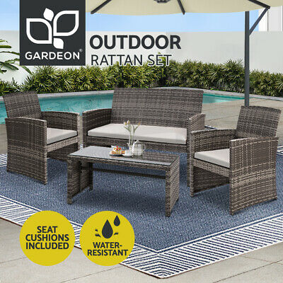 AU359.96 • Buy Gardeon Garden Furniture Outdoor Lounge Setting Wicker Sofa Set Patio Mixed Grey