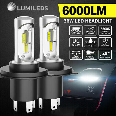 AU75.95 • Buy Pair 9003 H4 6000LM LED Headlight Kit 6500K Lamp Bulbs Globes Hi/Lo Beam Upgrade