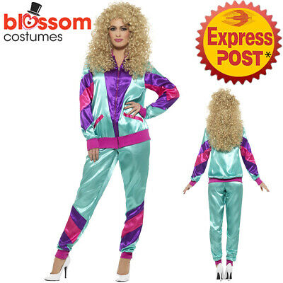 AU31.50 • Buy CA819 Ladies Retro Neon 80's Height Fashion Tracksuit Shell Suit Party Costume