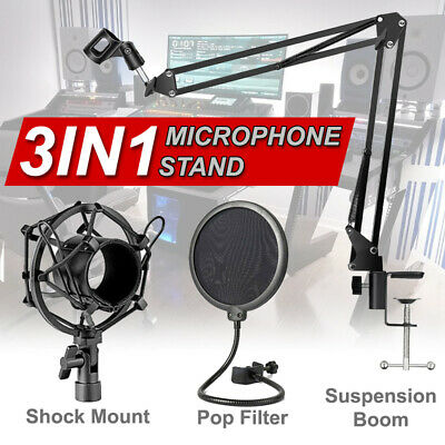 AU29.86 • Buy Microphone Suspension Boom Scissor Arm Stand With Pop Filter Shock Mount