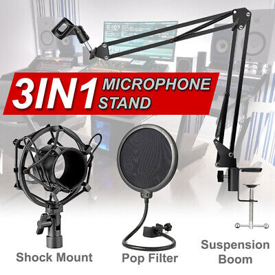 AU28.99 • Buy Microphone Suspension Boom Scissor Arm Stand With Pop Filter Shock Mount