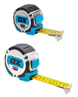 OX Tools PRO Soft Grip 5m/16ft Or 8m/26ft Metric & Imperial Tough Tape Measure • 15.95£
