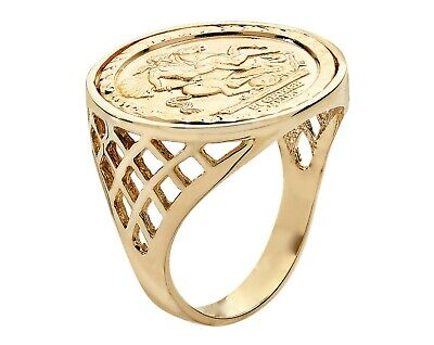 £29 • Buy 9ct Yellow Gold On Silver St George Coin Ring - ALL SIZES AVAILABLE Inc LARGE