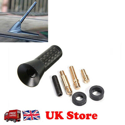 Car Bee-sting Stubby Short Black Carbon Fibre Aerial Ariel Arial Mast Antenna • 3.29£
