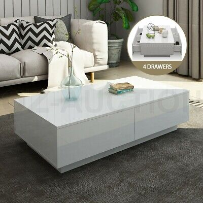 AU119.95 • Buy Modern Coffee Table 4-Drawer Side Table High Gloss Living Room Furniture - White