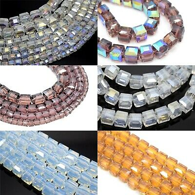 £2.10 • Buy Faceted Cube Crystal Glass Beads 4-10mm For Jewellery Making - Pick Colour