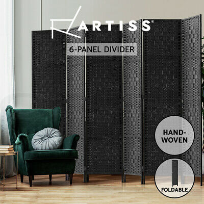 AU125.95 • Buy Artiss 6 Panel Room Divider Screen Privacy Rattan Timber Dividers Woven Stand