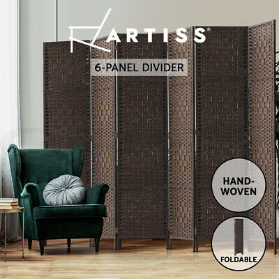 AU125.95 • Buy Artiss 6 Panel Room Divider Screen Privacy Rattan Timber Dividers Stand Woven