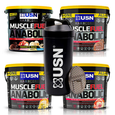 USN Muscle Fuel Anabolic 4Kg + Shaker Weight Gain Protein Lean Muscle Mass Shake • 54.99£