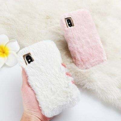 £4.99 • Buy Soft Warm Plush Metal Furry Faux Fur Phone Case Cover Silicone For Apple IPhone