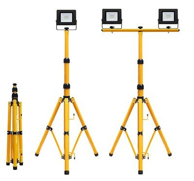 LED Flood Light Tripod Stand Camp Work Site Emergency Lamp Stand Single / Twin  • 15.99£