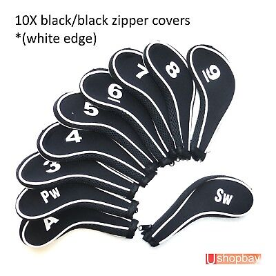 AU19.50 • Buy Golf Club Iron Head Covers Zipper Protect Match Black/Black Golf  Bag X 10