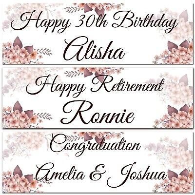 2 Personalised Birthday Banner Retirement Wedding Celebration Party Poster • 3.99£