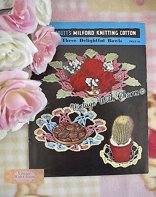 £1.99 • Buy Vintage 1950s Flower Bowls Crochet Pattern Could Also Double As Mats. 3 Designs