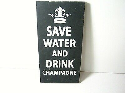 £7.32 • Buy Rustic Farmhouse 'Drink Champagne' Kitchen Home Bar Decor Wood Sign 12 X 6  Inch