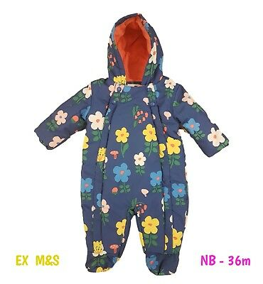 Baby Girls Quilted Floral Snowsuit Pramsuit Winter Coat Warm Hooded M+S 3m - 36m • 12.99£