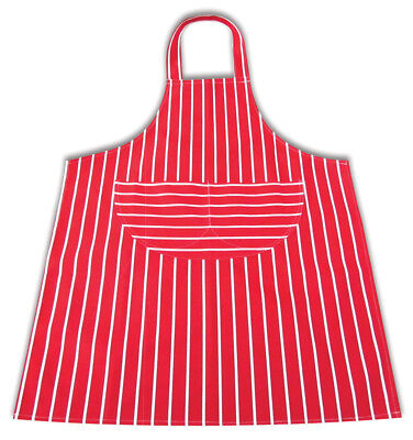 £3.98 • Buy Large Apron Red & White 100% Cotton Butcher Stripe Chefs Aprons