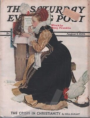 $ CDN40.11 • Buy Saturday Evening Post August 5 1939 Norman Rockwell Will Durant 102518DBPost