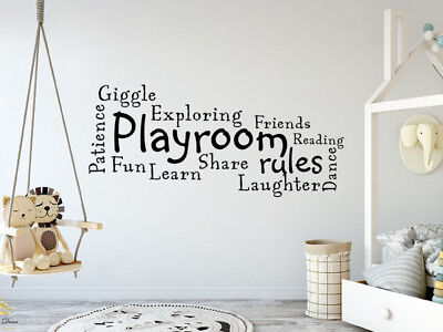 'Playroom Rules' Wall Art Quote, Decal, Modern Transfer • 14.95£