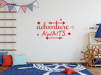Wall Quote  Adventure Awaits  Wall Art Sticker Quote Vinyl Decal • 16.95£