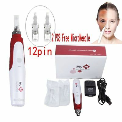 AU26.59 • Buy Electric Derma Pen Stamp Auto Anti Aging Skin Therapy Roller +2pcs Microneedles