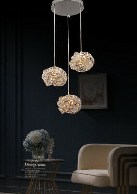 Aglow INT®Modern 3 Cluster Ceiling Pendant Chandelier With K9 Crystal Deco • 74.99£