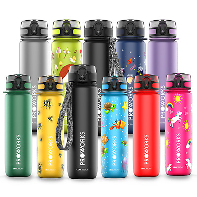 Sports Water Bottle BPA Free Plastic Running Drinks For Adults & Kids 500ml & 1L • 14.99£