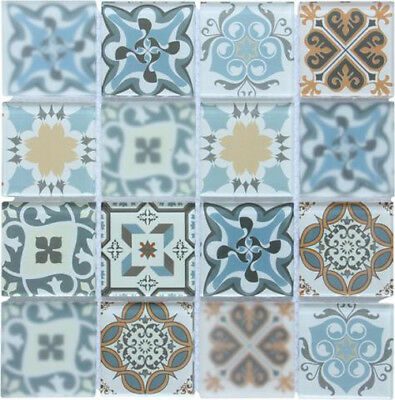 Blue Patterned Glass Mosaic Tiles Sheet 300x300x8mm (MT0179) • 9.46£