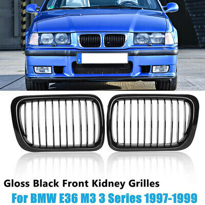 $31.15 • Buy Pair Gloss Black Kidney Grill Euro Sport Front Grille For BMW 3 Series E36 97-99