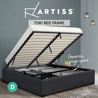AU239.95 • Buy Artiss Bed Frame Double Size Gas Lift Base With Storage Platform Fabric