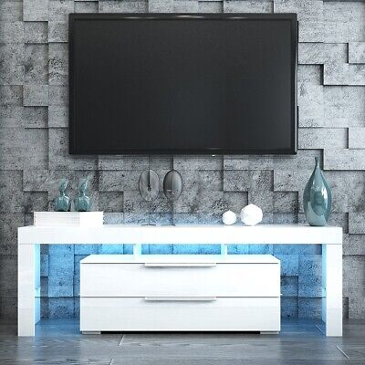 AU229.95 • Buy TV Stand Entertainment Unit 2 Drawers Wooden Storage Cabinet WH W/ Free RGB LED
