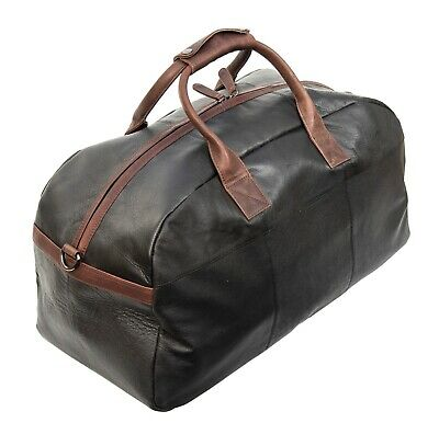 SALE - Prime Hide Soft Black Oiled Leather Holdall Cabin Holdall Travel Bag -NEW • 85.99£